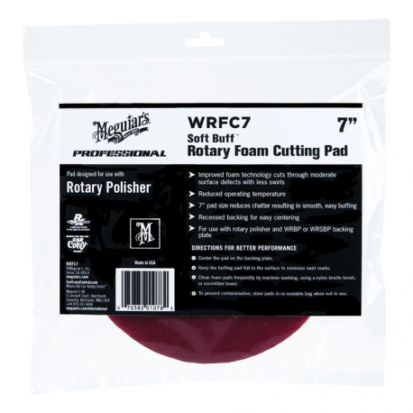Meguiars Soft Buff 7 Inch Rotary Foam Cutting Pad WRFC7 - Maroon Red